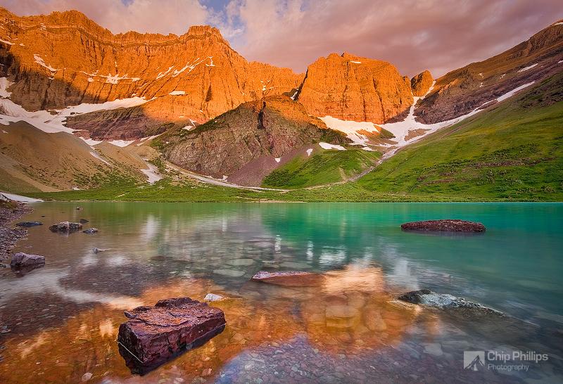 """Cracker Lake Sunrise""  The beautiful turquoise waters of Cracker Lake, seen at sunrise. Glacier National Park backcountry, Montana"