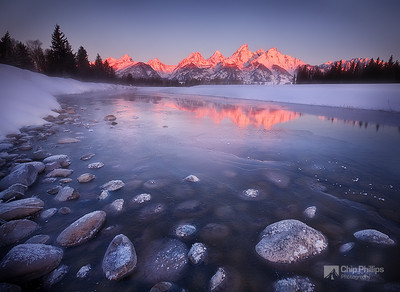 """Snake River Sunrise""  Shot on a very, very cold morning, on snowshoes in Grand Teton National Park."