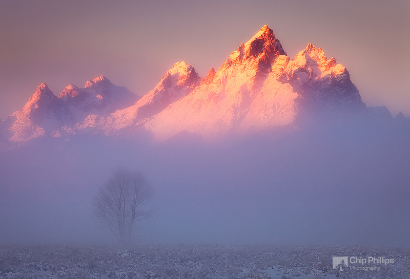 """Grand Teton Mist""  ""The Grand"" seen through morning mist on a very, very cold morning. Grand Teton National Park, Wyoming"