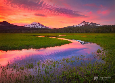 """Cascade Lakes Sunset""  An image taken during springtime in the Cascade Lakes Region of Oregon."