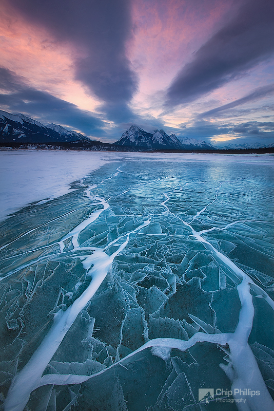 """Abraham Lake Winterscape""  Unique ice patterns at sunrise over Abraham Lake in the kootenay Plains, Alberta."