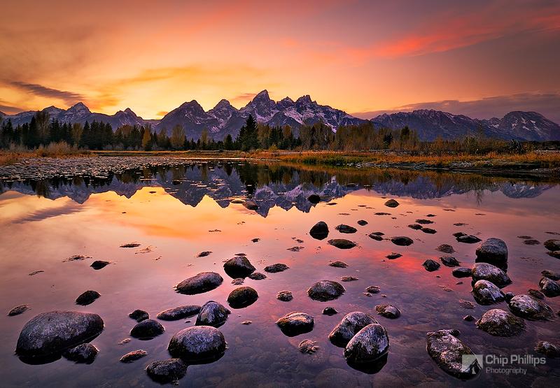 """Grand Teton Sunset""  Sunset over a secluded spot on the Snake River in Grand Teton National Park."