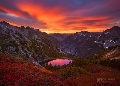 """North Cascades Sunrise""  An amazing sunrise shot from up on Sahale Arm in North Cascades National Park during a backpacking trip in Washington State."