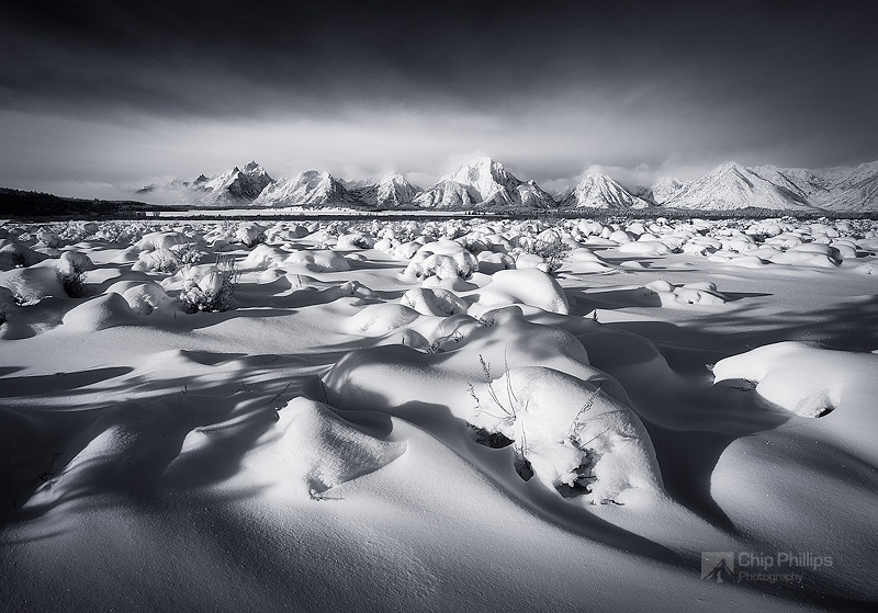 """Black and White Grand Tetons Winter""