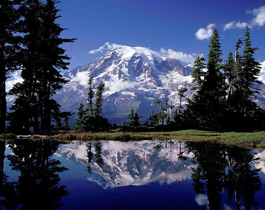 """""""Tarn"""" At 6500 feet in the Tatoosh Mountains, this little pool of snow-melt provides a perfect mirror of Mt. Ranier""""s south face."""