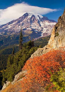 """""""Pinnacle Peek"""" By late September, Mt. Rainier has shed much of her winter mantle of snow...now, an all too brief explosion of color before white again dominates."""