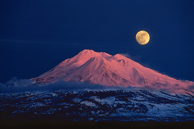 January Full Moon rises over Mt Shasta from Old Highway 99 near Weed, CA