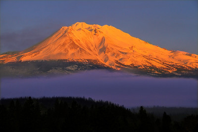 Mt Shasta at Sundown in January from Weed, CA