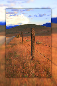 Old Fenceline along Slough Road in Siskiyou County, CA - with blurred decorative edging