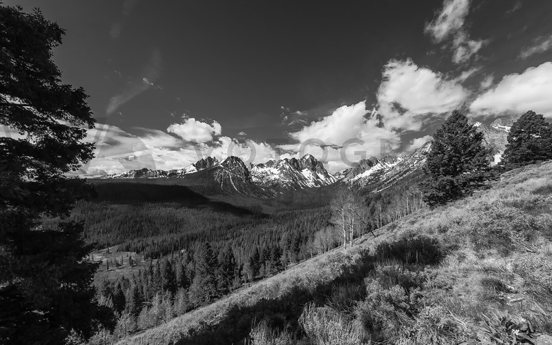 Sawtooth Mountains, Idaho - monochrome
