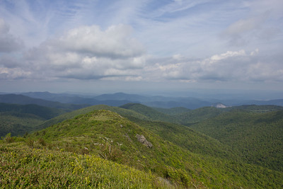 To the right Looking Glass Rock in Brevard and the thin line through the mountains is the Blue Ridge Parkway.