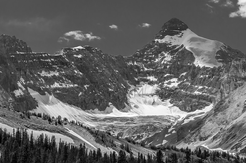 Glacier and Rugged Mountains in Black and White, Alberta, Canada
