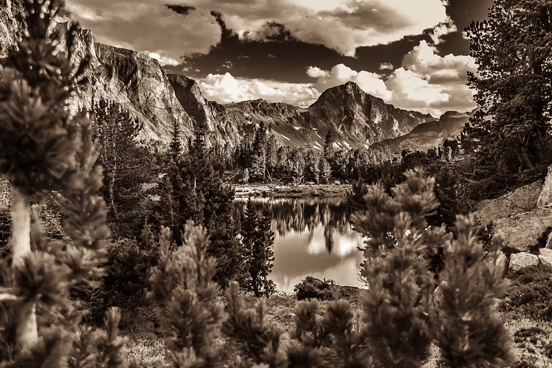 Spectacular Monochrome Photograph of Mary Lake, Absaroka-Beartooth Wilderness, Montana