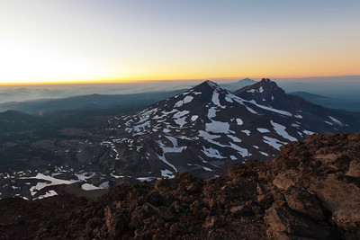 Middle and North Sister  and the rest of the Cascade Range, Oregon.