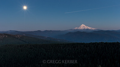 Mt Hood and full moon