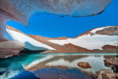 The lake in the Lewis Glacier, South Sister Mountain, Oregon.