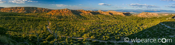 The Rio Grande Valley from the overlook on the road to Los Alamos.  Sunset August 2017.  This is a 42 frame composite HDR.