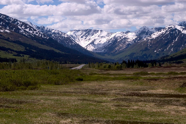 Chugach Mountains along the Seward Highway south of Anchorage on the Kenai Peninsula.