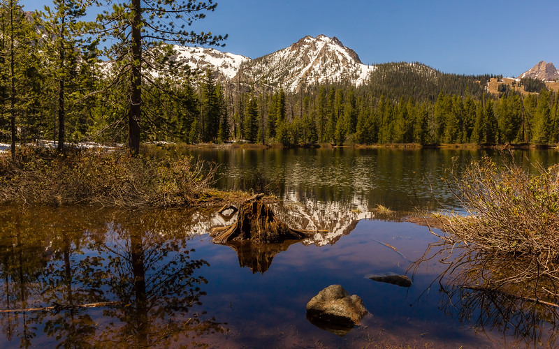 Reflection in Bench Lake, Sawtooth Mountains, Idaho