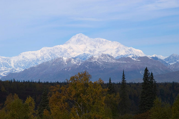 Denali (Mount McKinley) photogaphed in early autumn from a scenic overlook in side Denali State Park just north of Talkeetna, Alaska.