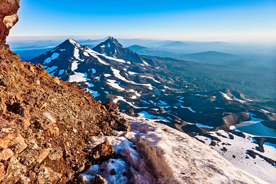 Middle and North Sister ,Three Finger Jack, Mt. Jefferson, and the rest of the Cascade Range, Oregon.