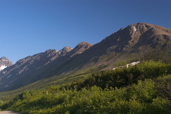 Hills alongside hiking trail in Glen Alps, just outside Anchorage.  This photo was taken just about mid-summer.
