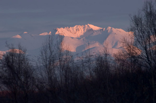 Chugach Mountains taken from Lake Hood (Anchorage, Alaska) late on an early winter afternoon.
