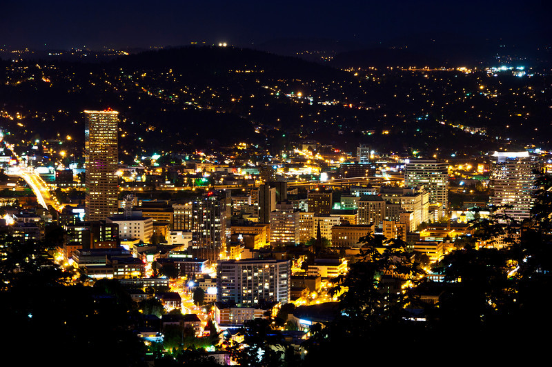 Portland, Oregon at nighttime