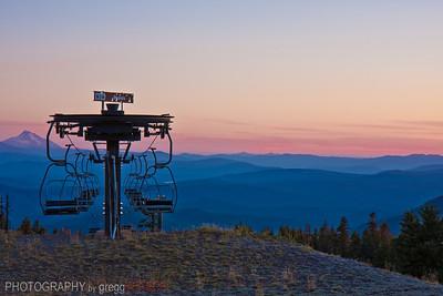 Sunset on Mt. Jefferson from Timberline Ski area, Mt. Hood