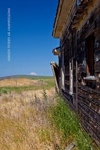 Old house near Condon Oregon looking towards Mt. Hood