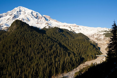 Mt Rainier with the Nisqually River valley in the foreground.  The mouth of the river is the Nisqually glacier, hidden from view in the center of the photo.