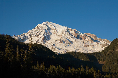 Mt Rainier taken as the sun began to set.  Taken from the Nisqually River near the Cougar Rock campground.