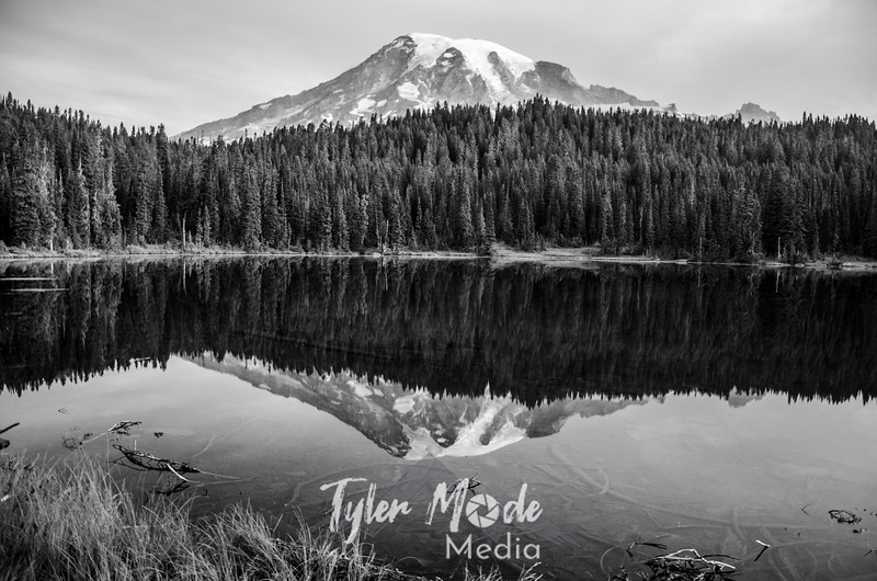 41  G Mt  Rainier Morning Reflection Lakes BW