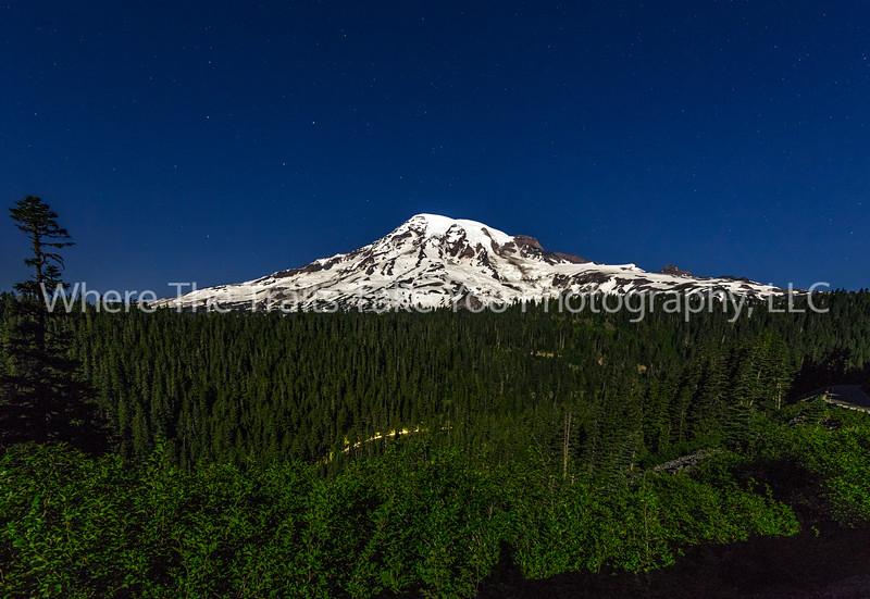 90.  Mount Rainier By Moonlight