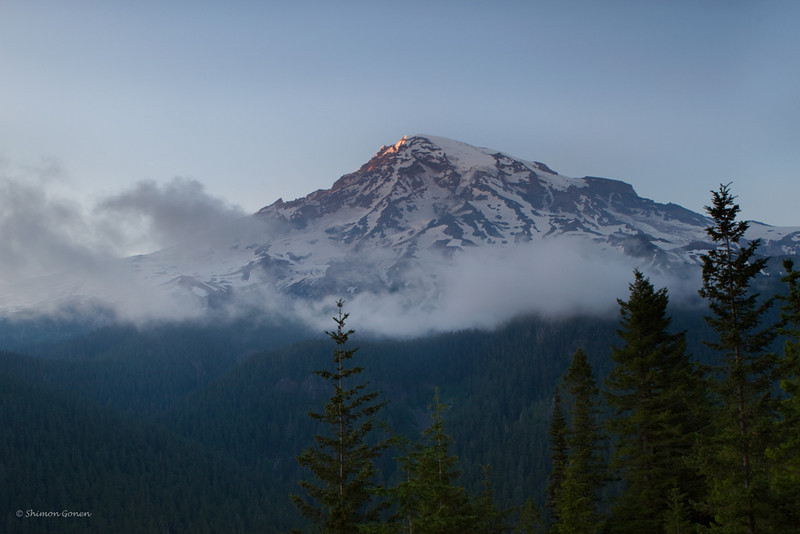 Clouds moving in to cover Mt Rainier