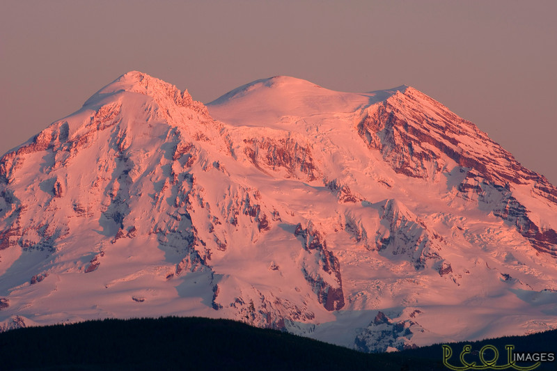 Mt. Rainier sunset from clear lake.