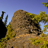 Towering lava rocks against a clear blue sky, Mt St Helen's Lava canyon.