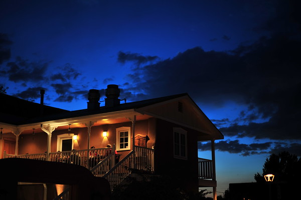 Antonio's restaurant after sunset in Taos, New Mexico