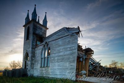 Morning at The Ruined Church, Laura, Saskatchewan