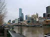 Looking along the Yarra to the Rialto towers from Southgate on a dull, wintry day.