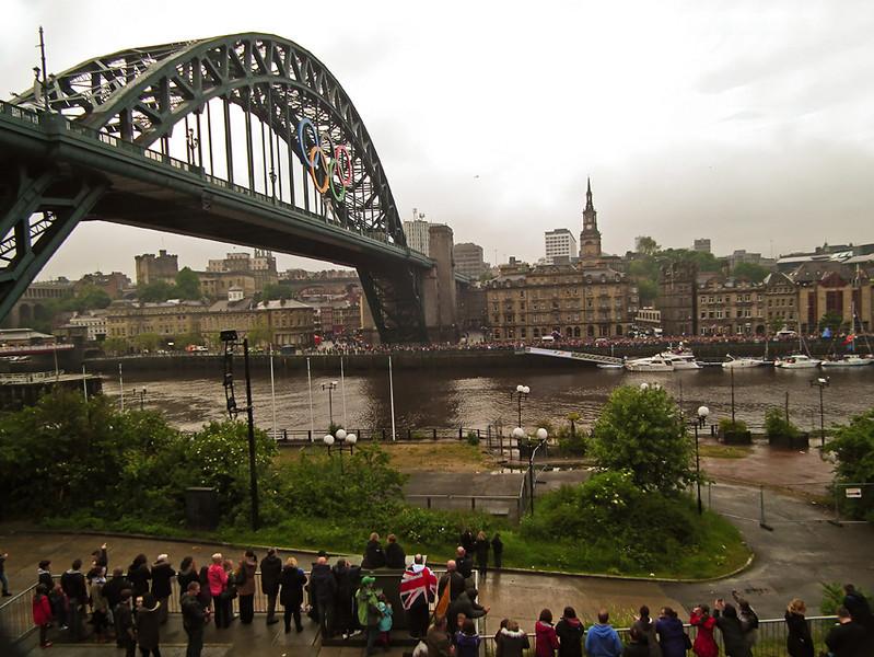 Olympic Torch Bearer Bear Grylls on Newcastle Tyne Bridge
