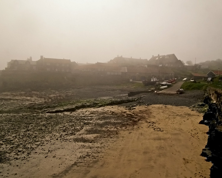 Craster Northumberland on Good Friday, shrouded in fog