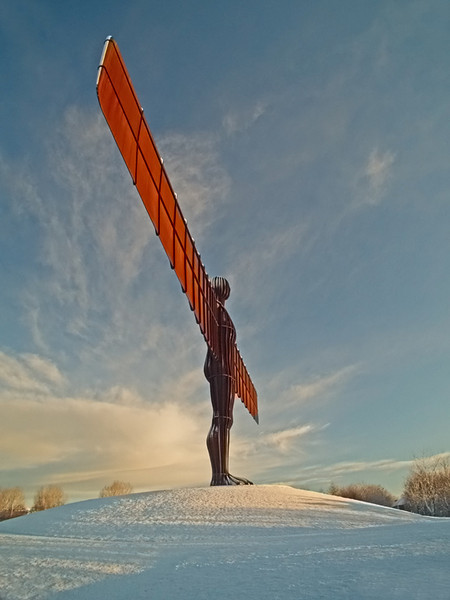 Angel of the North under snow