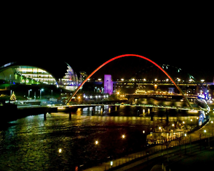Sage Gateshead and Millenium Bridge, Newcastle at night Dec 2011