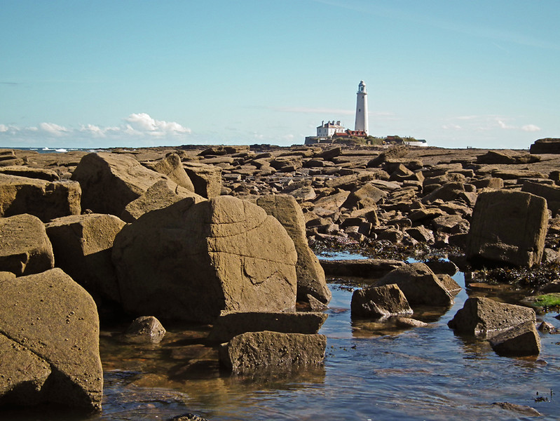 St Mary's Lighthouse, Whitley Bay, from Seaton Delaval Beach, Tyneside