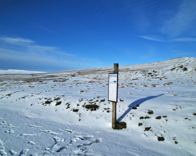 The bus stop at Cow Green Reservoir, Weardale, Co. Durham