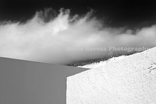 Wall and Clouds, Santorini, Greece