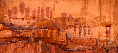 Barrier Canyon-style pictographs high on a cliff face in the Devil's Lane area of Canyonlands National Park. Over the years, weathering has faded the top halves of the figures.  Bill worked extensively in Photoshop to bring out more details.  Thanks to Jon Fuller and Tom Till, Moab Photo Tours, for guiding us to this site.