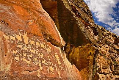 The beautiful Hunter Panel, Fremont-San Rafael style petroglyphs, in Cottonwood Canyon, near the confluence with Nine-Mile Canyon, central Utah