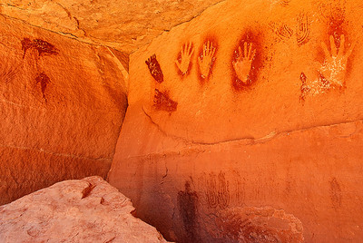 Pictographs in a protected alcove in the Devil's Lane area of Canyonlands National Park.  Thanks to Jon Fuller and Tom Till of Moab Photo Tours for guiding us to this site.